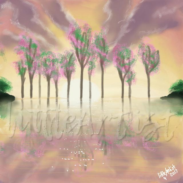 """Spring"" 🌷🌳 #drawing #infinitepainter #colorful #nature #digitalart #landscape #water #sunset #sunrise"