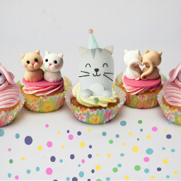 freetoedit cats cupcakes dots birthday