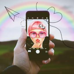 freetoedit phone selfie rainbow day
