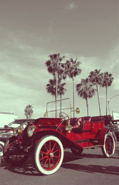 colorsplash red vintage car