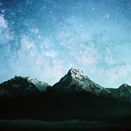freetoedit mountains stars night remixed