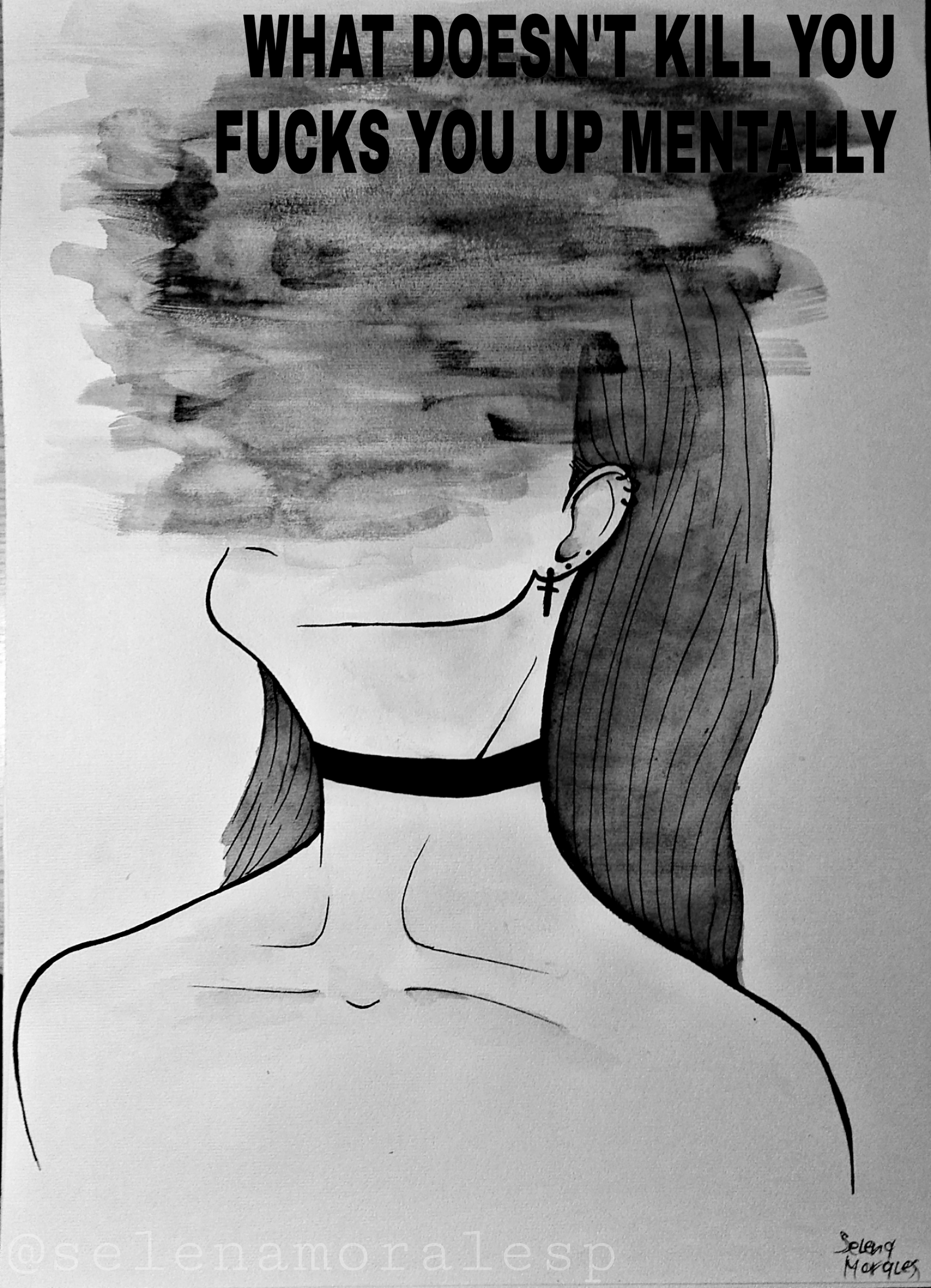 drawing by me. tumblr sad anxiety blackandwhiteFreeToEd...