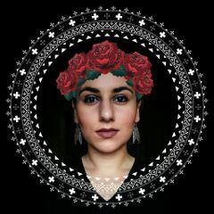 protrait roses embroidery woman selfie freetoedit