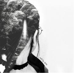 remixit blackandwhite doubleexpesure portrait people