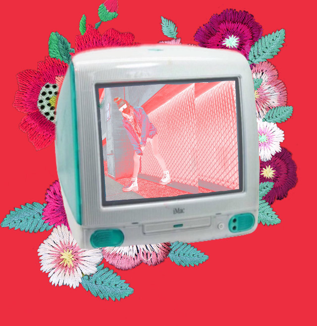 #FreeToEdit #embroideredflowers #oldcomputer #madewithpicsart