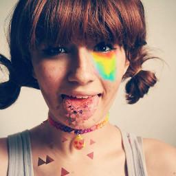 dispersion girl tongue rainbow rainboweyes freetoedit