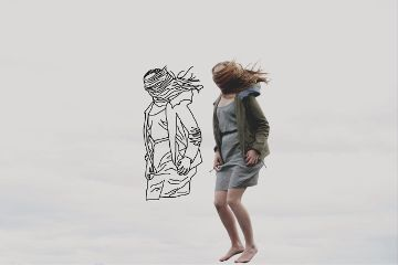 freetoedit outline drawing girl wind